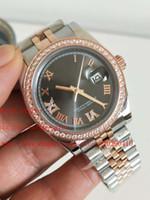 graue edelsteine großhandel-neueste Version Luxus 278381 Frauen 31MM Grau wählen 18k Rose Gold Diamant-Grenze Mechanische automatische Herren-Uhr