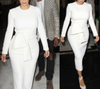 bayanlar için eski giysiler toptan satış-Moda 2018 Kadınlar Uzun Kollu Kılıf Ofis Lady Beyaz Elbise Kış Vintage Seksi Uzun Parti Elbiseler Sonbahar Giysileri Vestidos