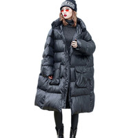 ingrosso lunghi cappotti lunghi-New Winter Full Sleeve Fluffy Hooded Parka Women Warm Fashion Length Cotton Coat Women Plus size casual Giù giacca di cotone 1097