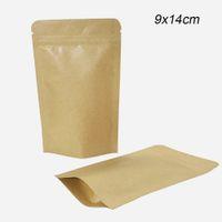 Wholesale mylar paper resale online - 9x14cm Stand Up Aluminum Foil Bags Heat Sealable Kraft Paper Food Bag Mylar Foil Zip lock Pouches for Scented Tea Food Storage