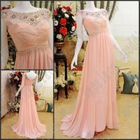 Wholesale wonderful evening dresses resale online - Newest Sexy Wonderful Sheath Beaded Crystal Ruffle Chiffon Evening Dresses Party Gown Prom Dress