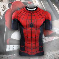 ingrosso costumi cosplay per uomini corti-Marvel Serie Spider-man 3D digitale costume stampato Costume manica corta T-shirt da uomo felpa supereroe