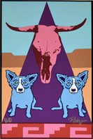 Wholesale pictures puppies resale online - George Rodrigue Blue Dog Pueblo Puppies Home Decor Handpainted HD Print Oil Paintings On Canvas Wall Art Pictures
