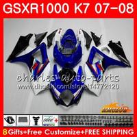ingrosso k7-Carrozzeria per SUZUKI GSXR-1000 GSXR1000 2007 2008 07 08 Bodys 12HC.11 GSX R1000 GSX-R1000 K7 GSXR 1000 blu bianco stock 07 08 Kit carena ABS
