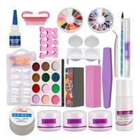 kits de prego francês em pó acrílico venda por atacado-Novo Pó de Acrílico Líquido Francês Nail Art Brush Cola UV Dicas Ferramentas Kits Set # 189
