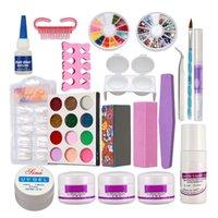 kits de uñas de acrílico en polvo francés al por mayor-Nuevo polvo acrílico líquido francés Nail Art Brush Glue UV Tips Kits de herramientas Set # 189