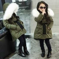3-9 Yrs Kids Girls Jacket Warm Cotton Padded Hooded Fur Coat Outerwear Thick Kids Winter Jacket For Girls Clothes Snow Coat