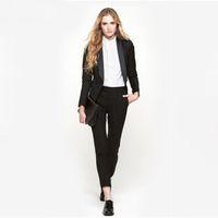 traje de smoking negro para damas al por mayor-Negro para mujer trajes de negocios de 2 piezas trajes de pantalón formal para bodas esmoquin de oficina para mujer uniforme trajes formales