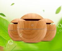 ingrosso illuminazione notturna aromaterapia-Diffusore di olio essenziale del grano di legno di DHL Aromaterapia ultrasonica di colore di bambù USB umidificatore 130ml con le luci di notte cambianti