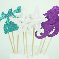 Wholesale mermaids party supplies resale online - Birthday Cake Flag Seahorse Mermaid Starfish Card Insertion Party Decoration Paper Creative White Purple Green Hot Sales Fashion ghC1