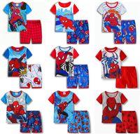 bebek süpermen setleri toptan satış-Örümcek adam Batman Superman Çocuk Giysileri Bebek Erkek Kısa Kollu Pamuk Pijama PJS Çocuk Pijama Pijamas Setleri