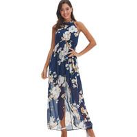 gabeln chiffon großhandel-reizvoller blauer Chiffon der elastischen Taille druckte langes Kleid des heißen Trägers Blumenverkaufs-Gabelmädchenstrand asymmetrisches Maxi-Kleid A614