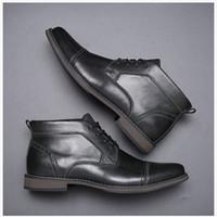 ingrosso gli uomini s stivali di pelle moda-Ankle Boots Affari Lace-up da uomo in pelle Martin stivali di moda Nero Marrone scarpe casual scarpe da sposa Espadrillas affari con il contenitore