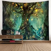 ingrosso arredamento decorativo del giardino-3D psichedelico Forest Tapestry Fairy Garden Hippie Hanging Wall Decorativo Soggiorno Verde Wishing Trees Parete Arazzo Decor