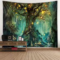 хиппи гобелен оптовых-3D психоделический лес гобелен Фея сад хиппи висячие стены декоративные гостиная зеленый желая деревья стены гобелен декор