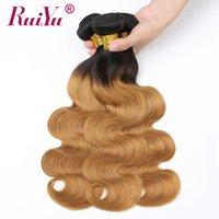 12 inç ombre saç uzantıları toptan satış-1B 27 Bal Sarışın Ombre Saç Örgüleri Ombre Vücut Dalga Demetleri Iki Ton İnsan Saç Dokuma Ruiyu Remy Brezilyalı Saç Atkı uzantıları