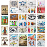 Wholesale surfing painting resale online - 38 Styles Beach Surfing Vintage Home Decor Tin Sign Bar Pub Decorative Metal Sign Retro Metal Plate Painting Metal Plaque