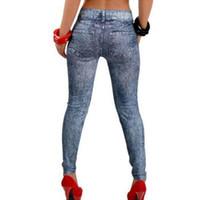 Wholesale stretch silk pants online - good quality Women Modish Pencil Pants Slim Stretch Casual Faux Denim Jeans Leggings Skinny Pants one size