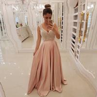 ingrosso abito in taffetà rosa-Perline rosa A-line Prom Abiti scollo a V Backless Bow Tie Taffetà Abiti da festa Sweep Train Formal Wears 2019