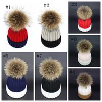 han kapağı toptan satış-Ebeveyn-çocuk Yün Şapka Sonbahar Kış Sıcak Kıvırcık Kenar Şapka Han baskı Iki renkli Bayan Rakun Saç Top örgü Kap EEA210