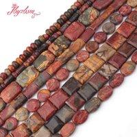 halskette rechteck perlen großhandel-Ovales quadratisches rechteck multicolor picasso jaspers naturstein perlen für halskette armband schmuck machen 15