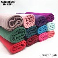bufandas de jersey liso al por mayor-Moda jersey bufanda chal algodón liso elasticidad bufandas maxi hijab largo cabeza musulmana hijabs envolver tamaño largo silenciador 10 unids / lote