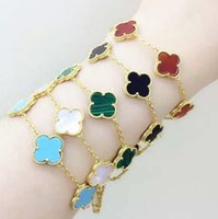 ingrosso braccialetto del braccialetto del trifoglio del fiore-2019 Gioielli di lusso Clover 5 Bracciale a fiori per donna, bracciale rigido in oro 18k placcato