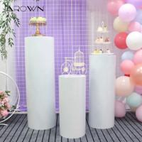 puestos de postres al por mayor-JAROWN Decoración de boda Mesa de postre cilíndrica de hierro forjado Área de pre-función de boda Soporte de pastel Pabellón de ceremonia Mesa de flores