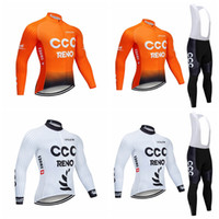 Wholesale mountain bikes jersey pants resale online - CCC team Outdoor sports Mens Long Sleeves Cycling Jersey bib pants sets and Long Tops Mountain Bike Riding clothing Q72011