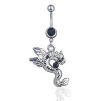 ingrosso anello nero dell'ombelico-D0748-2 (3 colori) colore nero stile drago anello ombelico anelli ombelico gioielli body piercing ciondola gli accessori fascino di moda 20 pz