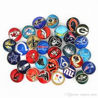 18mm cam fitil toptan satış-32 adet / grup Karışımları Spor Futbol Takımı Yapış Düğmeler Cam Yapış Charms Fit 18mm DIY Zencefil Yapış Bilezik Değiştirilebilir Düğme takı