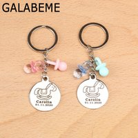 Wholesale keychain nipples for sale - Group buy 10pcs custom name date alloy Keychain with Nipple Engraved logo keychain baby shower souvenirs birthday party decorations kids