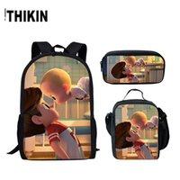 ingrosso baby set personalizzato-THIKIN Cartoon Boss Baby 3D Scuola Zaini Scuola Borse per adolescenti Ragazze 3 pz / set Bambini Casual Bookbags Laptop Bag Personalizzato
