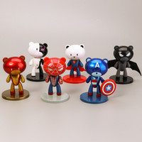 Wholesale union iron for sale - Group buy Avengers Action Figures Edition Q Bear Designs Union Iron Man Spider Man Superman Super Heroes Doll