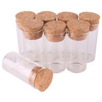 tubes à essai flacons en liège achat en gros de-50pcs 12ml taille 24 * 50mm petit tube à essai avec bouchon en liège bouteilles d'épice conteneur pots flacons bricolage artisanat