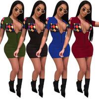 falda de noche caliente al por mayor-Hot Summerlong Sleeve Skirts Pure Colors Tight Sexy ropa de dormir Medio Vestidos Con Cremallera Deportes Mujer Ropa para el hogar 32qm E1