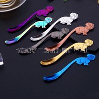Wholesale plate head for sale - Group buy Ice Scoop Stainless Steel Dessert Color Plating Coffee Spoons Cartoon Dog Head Many Colour The Stirring Rod Factory Direct Selling mn p1