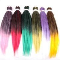 Wholesale yaki braiding hair online - Ombre Synthetic Braiding Hair EZ Braids Inch Pre stretched Yaki Crochet Twist Jumbo Braids In stock