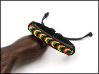 hippies de cuero al por mayor-Party Jamaica Reggae Rainbow Rope Pulseras de cuero hechas a mano de punto Joyas Unisex Hippie Brazalete Pulsera Pulseras Infinito