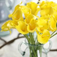 ingrosso fiori da giardino comuni-Real-touch Artificiale Comune Callalily Fiori finti Decorazione floreale Bouquet Home Hotel Ufficio Festa di nozze Mestiere da giardino