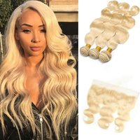 blonde vierge de cheveux non transformés achat en gros de-Extensions péruviennes de cheveux humains non transformés 613 # Blonde Body Wave 3 Bundles avec 13 * 4 dentelle frontale vague de corps vierge cheveux 8-28 pouces