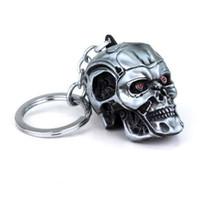 ingrosso portachiavi testa testa del cranio-Movie Terminator Portachiavi Cool Punk 3D Skull Head Shape Portachiavi Portachiavi Lega di metallo Terror Skull Portachiavi Holder