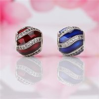 Wholesale red beads bracelets resale online - Fashion Charm Beads for Pandora Sterling Silver Inlay CZ Diamond Thread DIY Bracelet Jewelry Accessories Round Red Blue Beads
