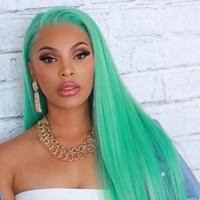 полный парик шнурка зеленый оптовых-Лин человек волосы зеленый полный кружева человеческих волос парики прямые бразильские Реми волос кружева перед парики с предварительно сорвал