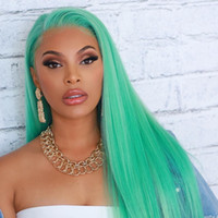Wholesale straight green wig online - LIN MAN Hair Green Full Lace Human Hair Wigs Straight Brazilian Remy Hair Lace Front Wigs With Pre Plucked