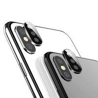 iphone kamera halka koruyucusu toptan satış-Geri kamera lens ekran koruyucu için iphone 11 pro xs max xr x halka metal arka case temperli cam filmi moda koruyucu kılıf