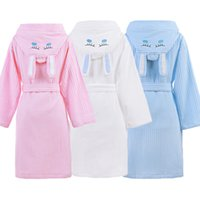 kapüşonlu pamuklu cüppe çocuklar toptan satış-Kapşonlu Pamuk Çocuk Bornoz Çocuk Erkek Kız Elbise Pamuk Güzel Banyo Bornozlar Sabahlık Roupao Çocuklar Pijama Kemerleri ile perakende