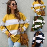 gelber blauer pullover großhandel-Mode Pullover Pullover 2019 Herbst Winter Gestreifte Gestrickte Frauen Gelb Grün Blau Strickwaren Pullover Lose Streetwear Jumper