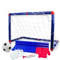 esportes indoor jogos crianças venda por atacado-Grande Futebol Gol Futebol Set para Crianças Crianças Jogo Ao Ar Livre Desenvolvimento de Meninos Interessantes Ferramentas de Esportes Indoor com Bomba