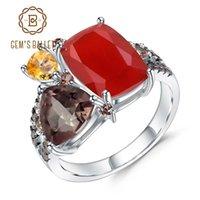 ingrosso pietre preziose d'epoca-GEM'S BALLET Natural Carnelian Gemstone Ring 925 Sterling Silver Handmade Geometric Vintage Anelli per le donne Bijoux Fine Jewelry